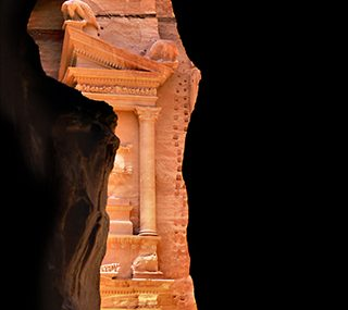 The first view of Petra's Treasury from the Siq.