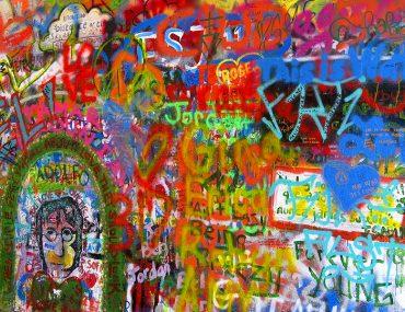 Picture of the graffiti on the John Lennon wall in Prague, Czech Republic.
