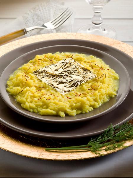 Risotto Oro e Zafferano, made with precious saffron and a leaf of 24 karat gold.