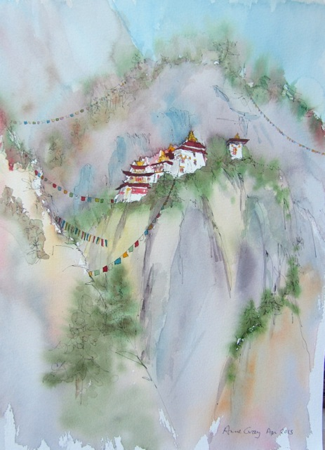 Anne Gray_TigersNest_Bhutan_Painting