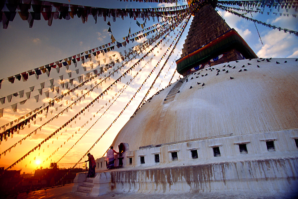 The top of Swayambhunath Temple in Kathmandu at dawn.
