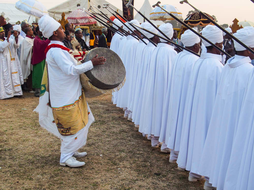 Ethiopian band marching at Timkat Festival
