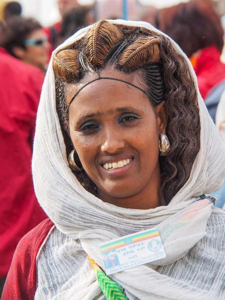 beautiful intricate woman's hairstyle at Timkat festival