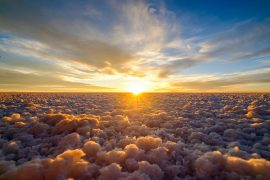 Flaying above the clouds in Bolivia's Salar de Uyuni